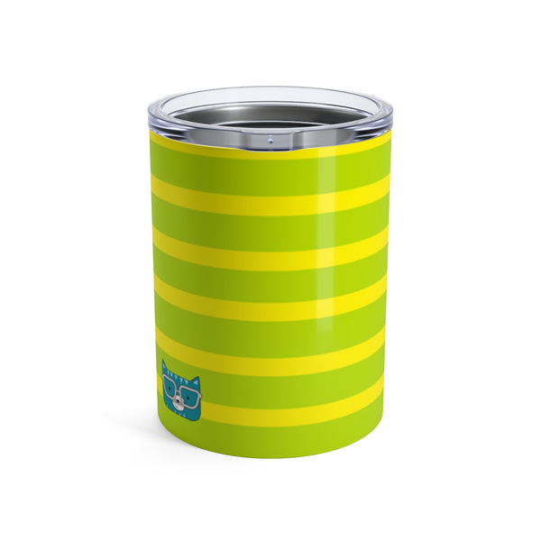Tumbler Horizontal Stripes Cool Cat Green Yellow