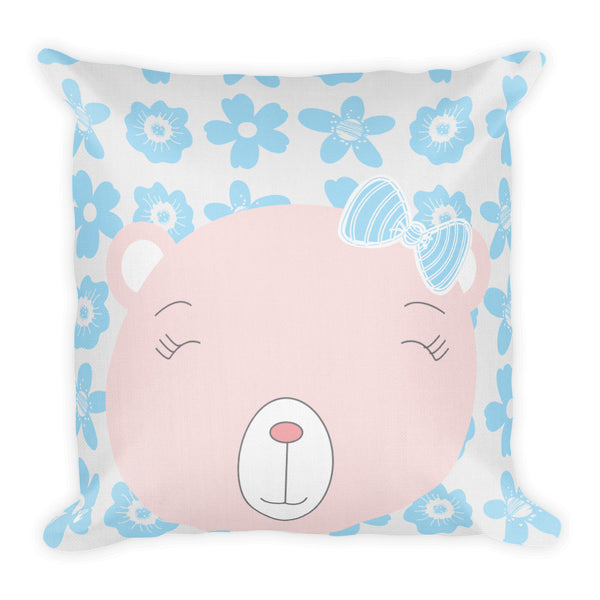 Premium Pillow_Flower Power Bear Blue Pink