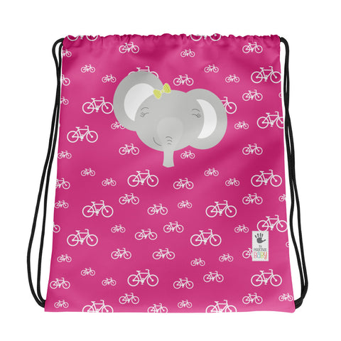 Drawstring Bag_My Bike Elephant Pink