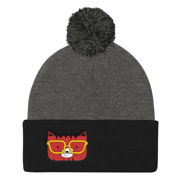 Pom Pom Knit Cap_Solid Yellow Cool Cat Red