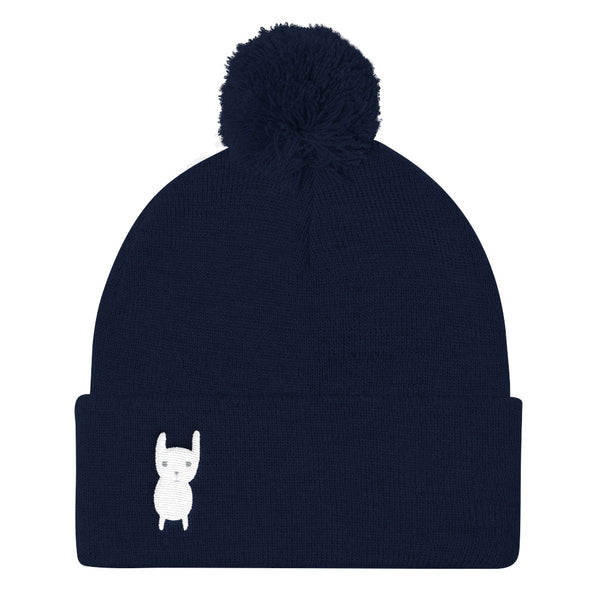 Pom Pom Knit Cap_Hungry Funny Bunny Red