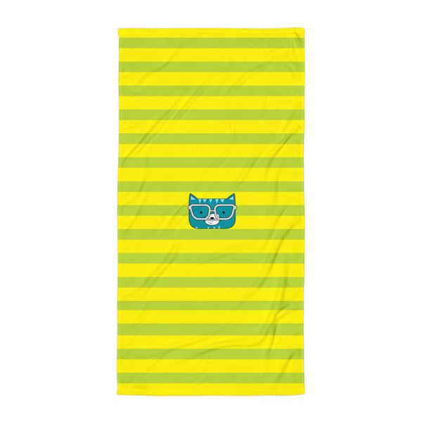 Towel_Stripes Cool Cat Green