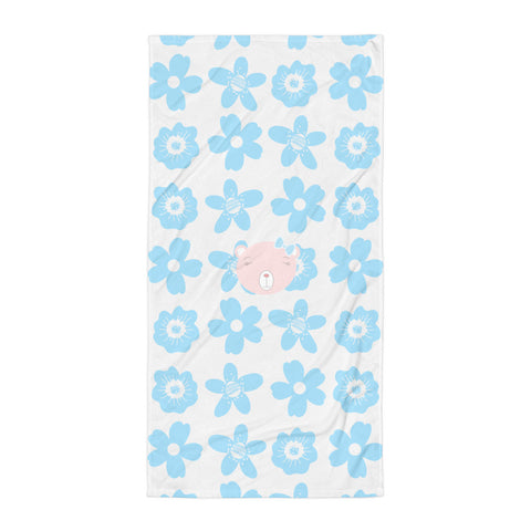 Towel_Flower Power Bear Blue Pink