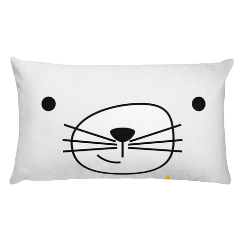 Premium Pillow_Scribbles Cool Cat White
