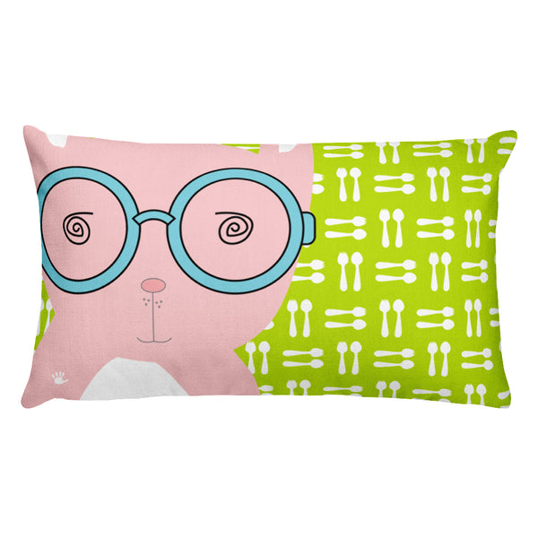 Premium Pillow_Hungry Funny Bunny Green