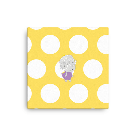 Canvas_Polka Dottie Whinno Dino Yellow