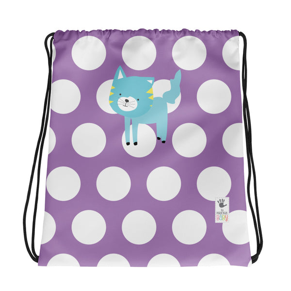 Drawstring Bag_Polka Dottie Silly Kitty Purple
