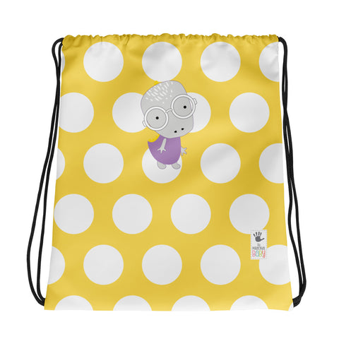 Drawstring Bag_Polka Dottie Whinno Dino Yellow