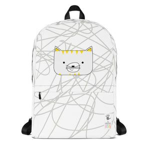 Backpack_Scribbles Cool Cat White
