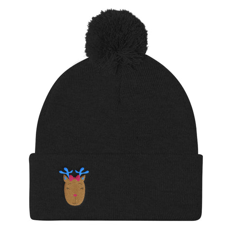 Pom Pom Knit Cap_Music Notes Deer Turquoise