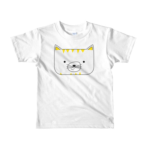 Kids T-Shirt_Scribbles Cool Cat White