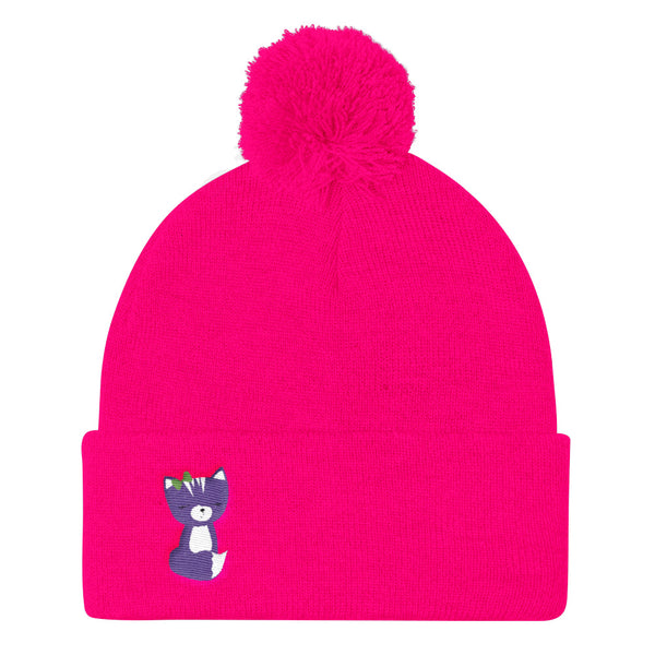 Pom Pom Knit Cap_Solid Pink Smarty Pants