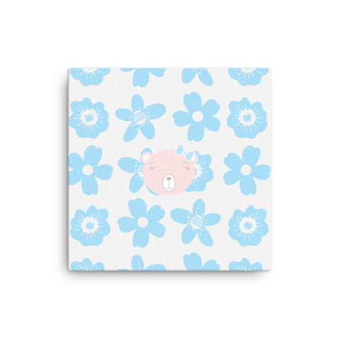 Canvas_Flower Power Bear Blue Pink