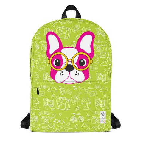 Backpack_See The World Little FB Pup Green Pink