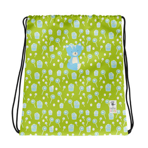 Drawstring Bag_Sweetie Smarty Pants Green Blue