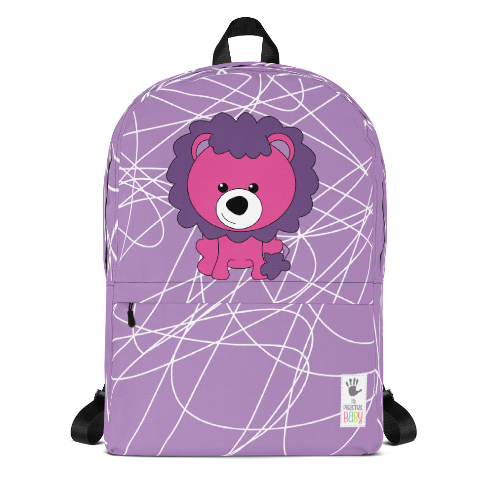 Backpack_Scribbles Lion Lion Purple