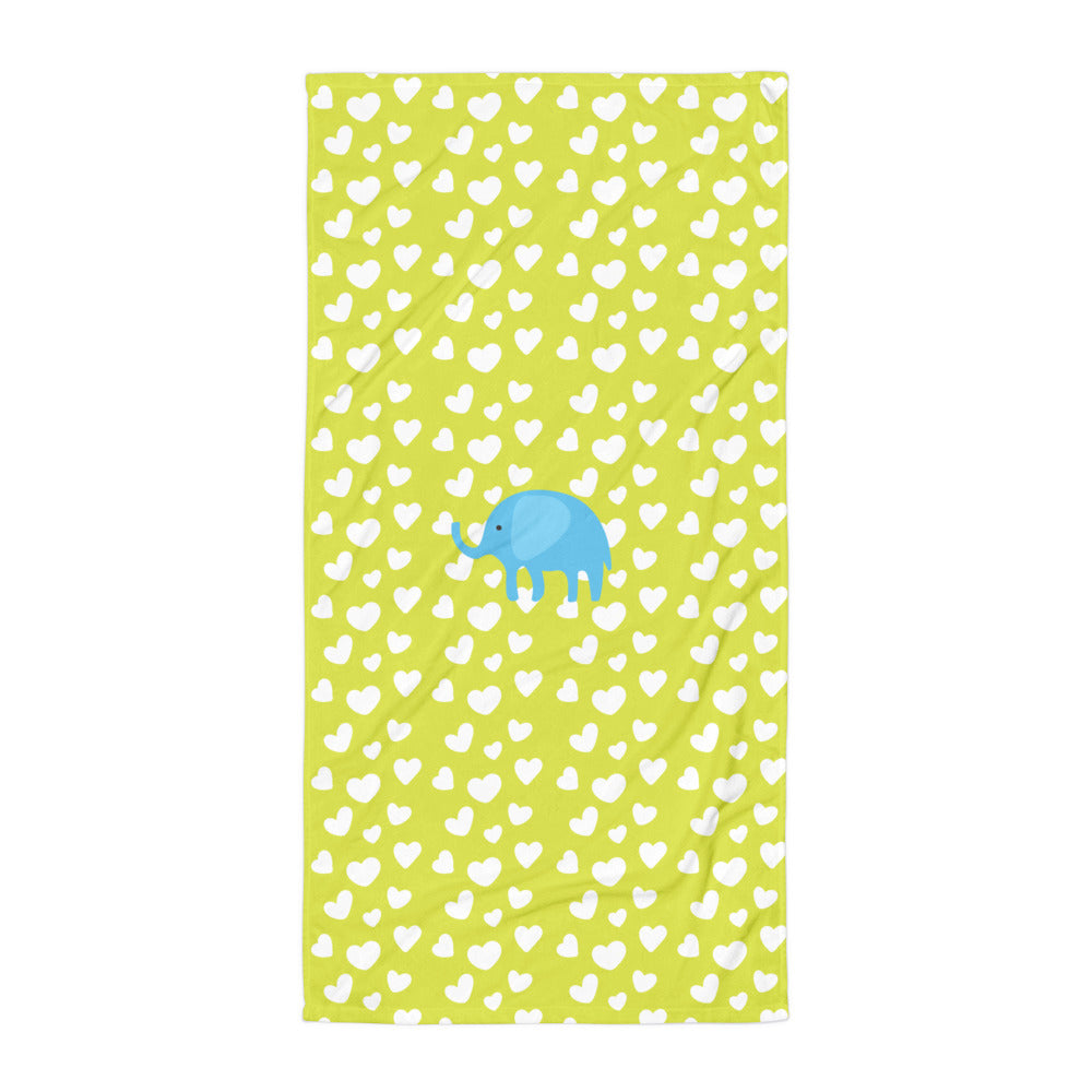 Towel_I Love You Elephant Green