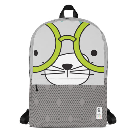 Backpack_Diamonds Cool Cat Grey