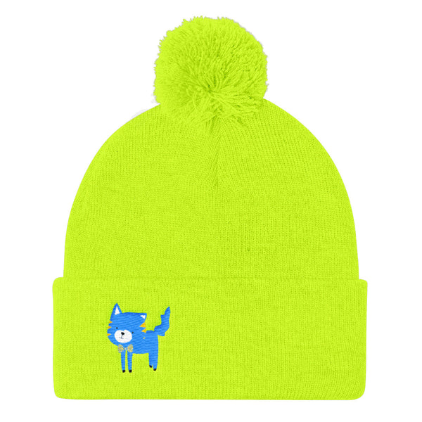Pom Pom Knit Cap_Cinema Silly Kitty Blues