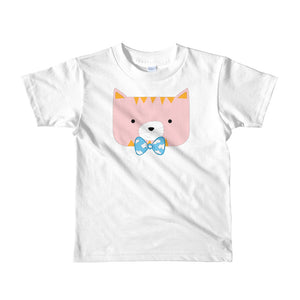 Kids T-Shirt_Horizontal Stripes Cool Cat Pink