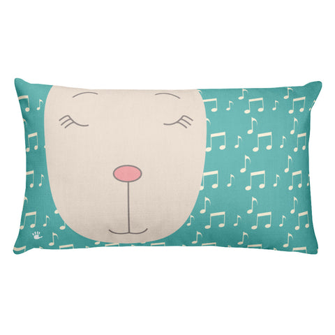 Premium Pillow_Music Notes Deer Turquoise