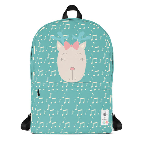 Backpack_Music Notes Deer Turquoise