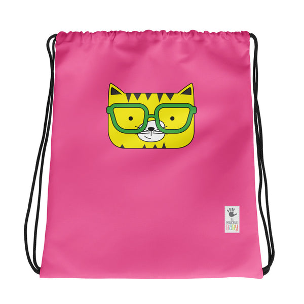 Drawstring Bag_Solid Pink Cool Cat