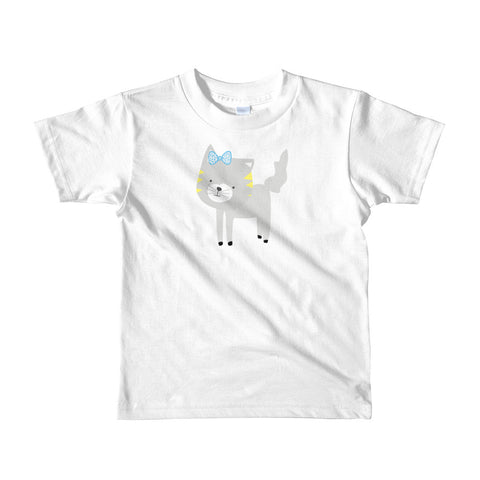 Kids T-Shirt_Polka Dottie Silly Kitty Teal
