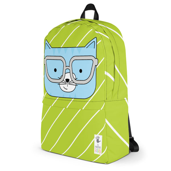 Backpack_Diagonal Stripes Cool Cat Green