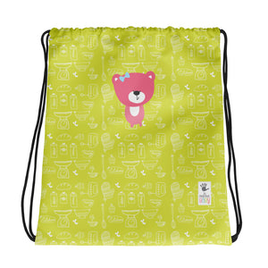Drawstring Bag_Baking Bear Green Pink