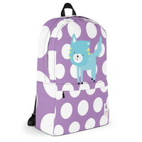 Backpack_Polka Dottie Silly Kitty Purple