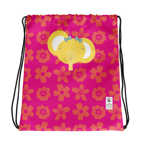 Drawstring Bag_Flower Power Elephant Pink