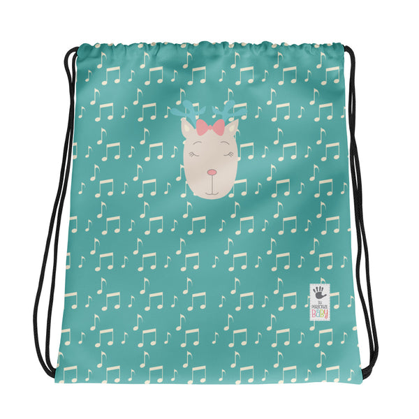 Drawstring Bag_Music Notes Deer Turquoise