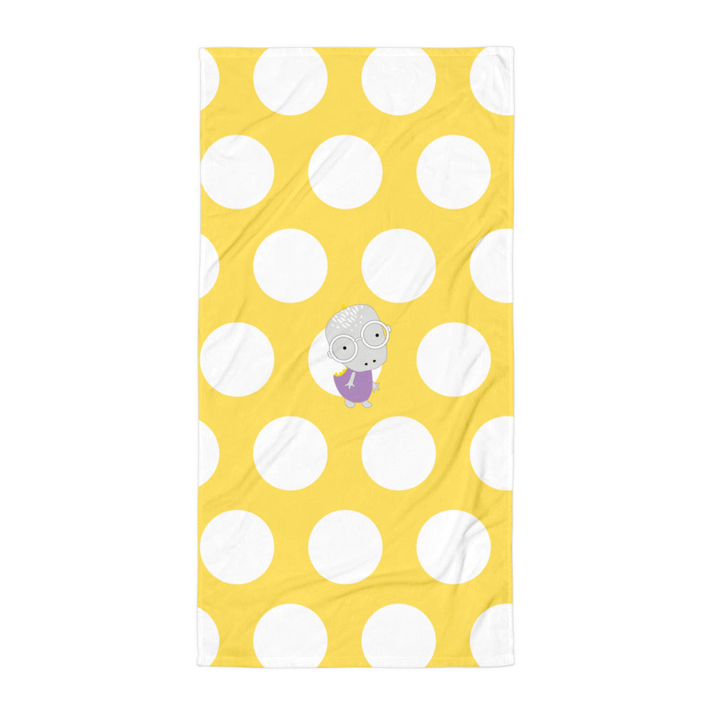 Towel_Polka Dottie Whinno Dino Yellow