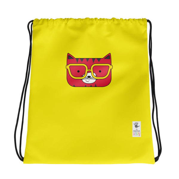 Drawstring Bag_Solid Yellow Cool Cat