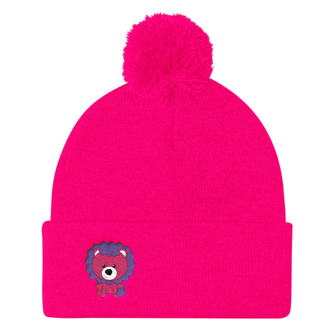 Pom Pom Knit Cap_Scribbles Lion Lion Purple