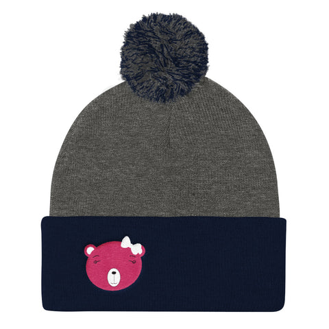 Pom Pom Knit Cap_Flower Power Bear Blue Pink
