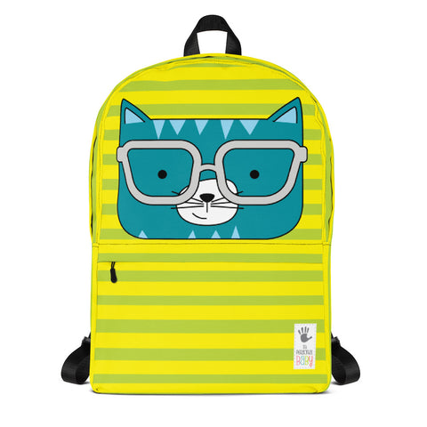 Backpack_Horizontal Stripes Cool Cat Green Yellow