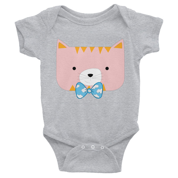 Infant Bodysuit_Horizontal Stripes Cool Cat Pink