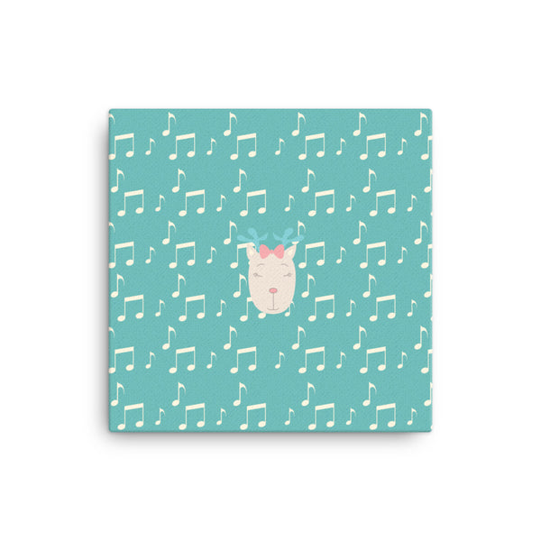 Canvas_Music Notes Deer Turquoise