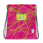 Drawstring Bag_Scribbles Cool Cat Pink