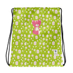 Drawstring Bag_Sweetie Smarty Pants Green Pink