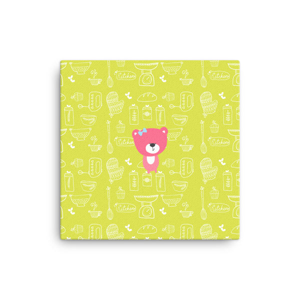 Canvas_Baking Bear Green Pink
