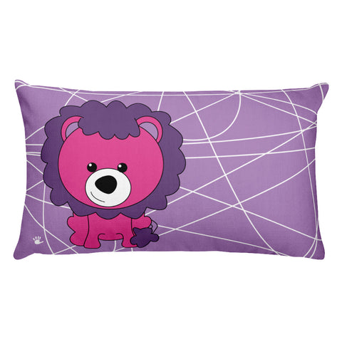 Premium Pillow_Scribbles Lion Lion Purple