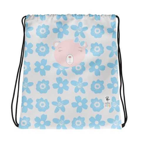 Drawstring Bag_Flower Power Bear Blue Pink