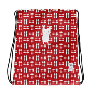 Drawstring Bag_Hungry Funny Bunny Red