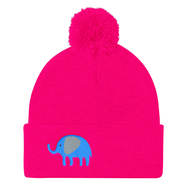 Pom Pom Knit Cap_I Love You Elephant Green Blue