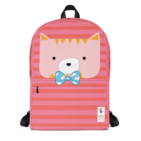 Backpack_Horizontal Stripes Cool Cat Pink