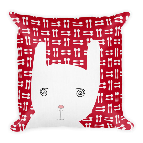 Premium Pillow_Hungry Funny Bunny Red