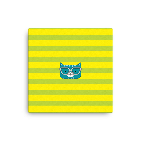 Canvas_Stripes Cool Cat Green Yellow